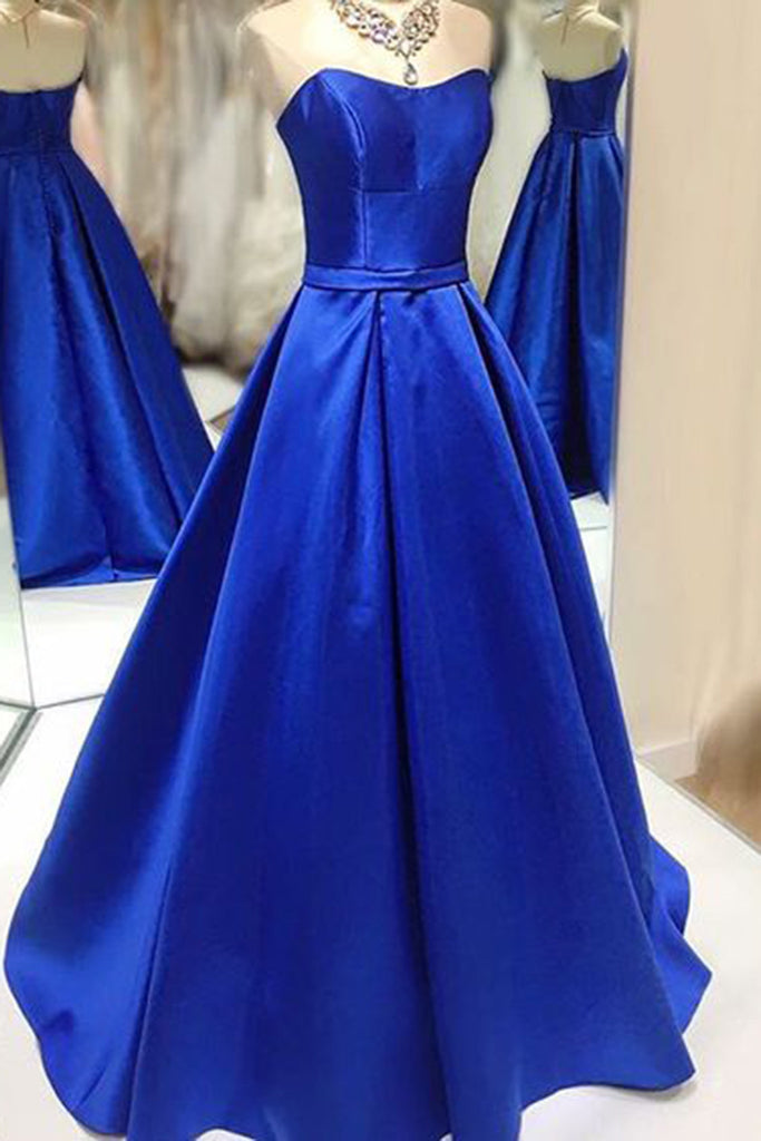 2018 evening gowns - Navy blue satins sweetheart A-line princess full-length formal dresses