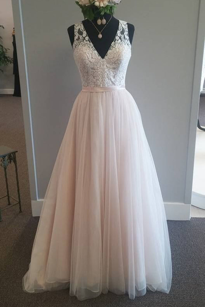 Prom 2020 | Pink chiffon V- neck lace long prom dresses for teens with straps,evening dresses