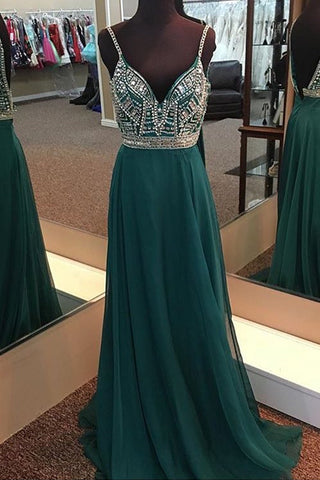 Stunning deep green chiffon spaghetti straps long backless evening dresses