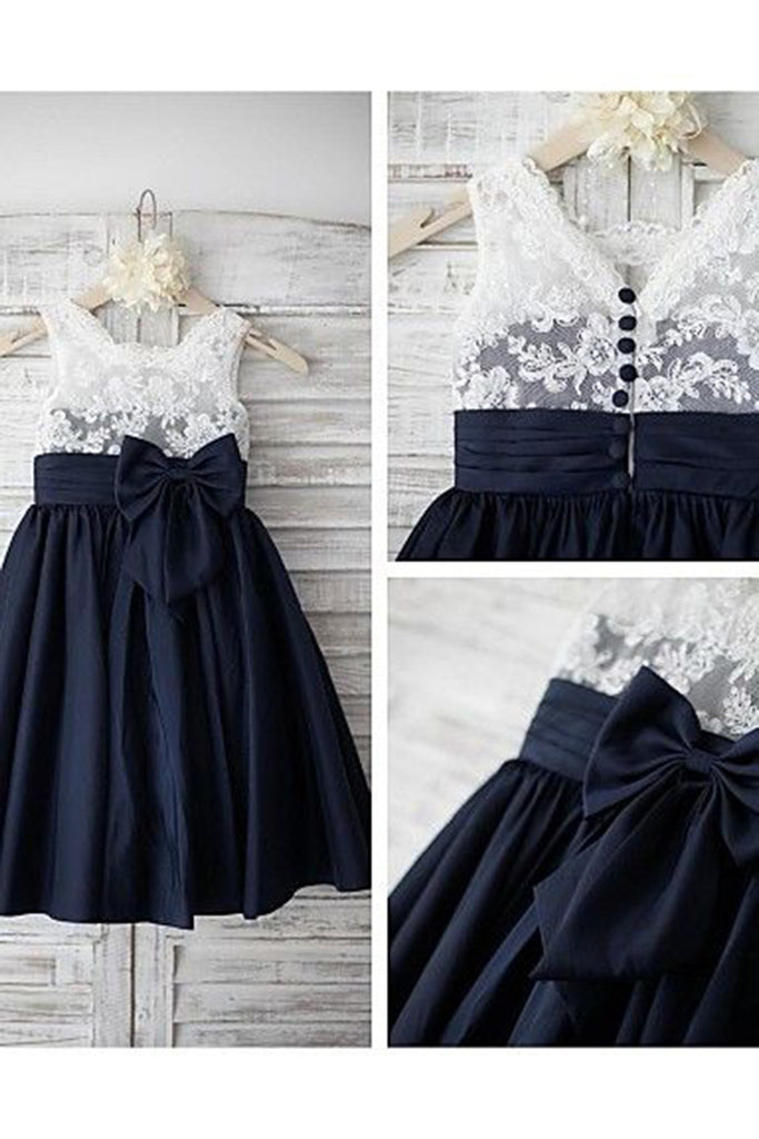 Prom 2020 | Black satins chiffon lace bowknot girls dress  with straps