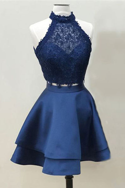 Sweet 16 Dresses | Deep blue satin two pieces mini party dress, strapless lace short bridesmaid dress