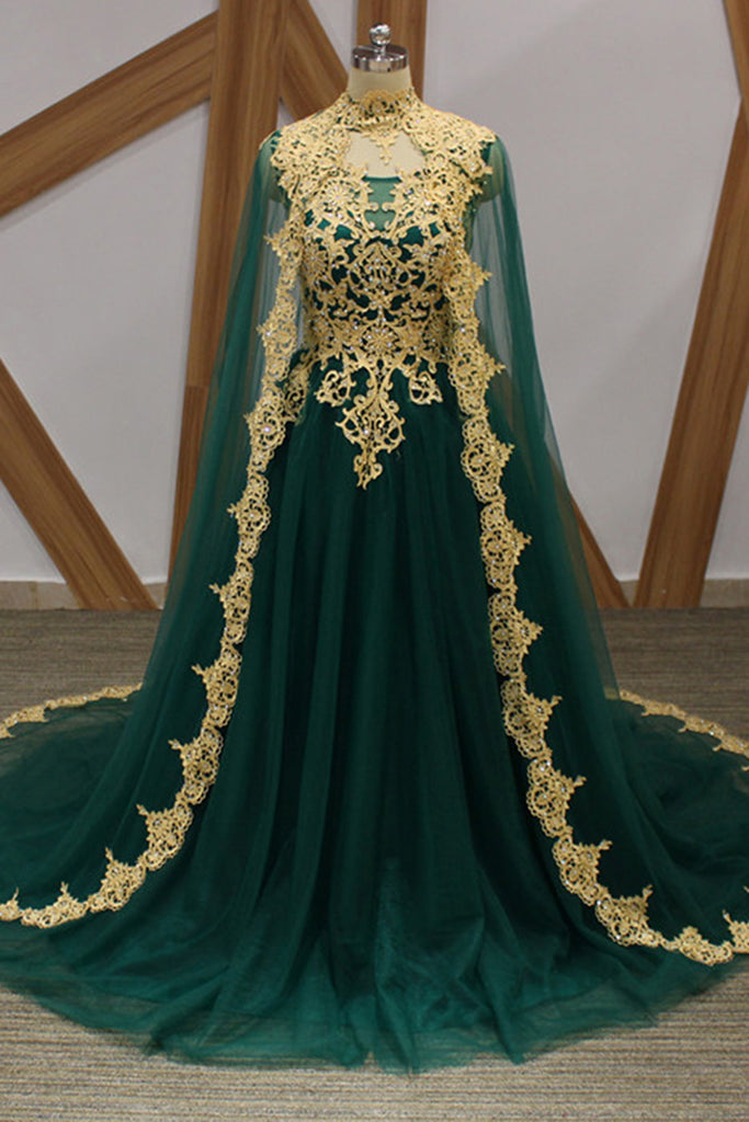 7b2fa114646c Sweet 16 Dresses | Dark Green Tulle Gold Lace Applique Long Arabic Formal  Prom Dress,