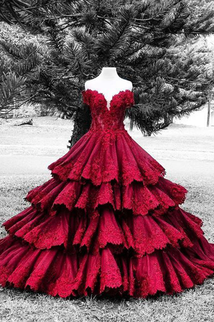 Gorgeous red lace sweetheart satins handmade flowers A-line long ball gown dresses - Sweetheartgirls