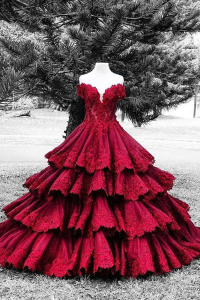 Prom 2020 | Gorgeous red lace sweetheart satins handmade flowers A-line long ball gown dresses