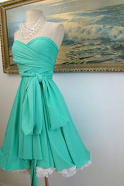 Sweet 16 Dresses | Glamorous green chiffon sleeveless A-line short dresses,casual dresses for teens