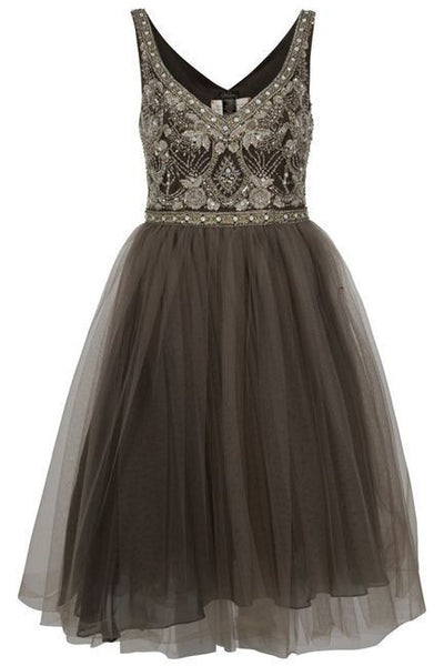 2019 Prom Dresses | Brown tulle lace sequins beaded sleeveless A-line long dresses,knee-length dresses