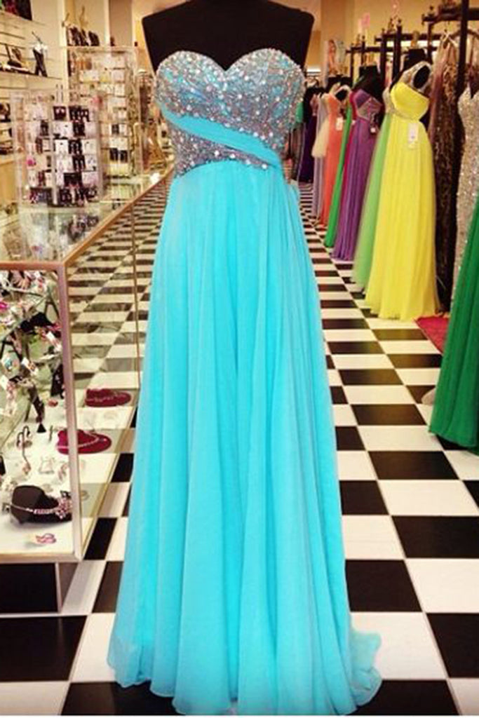 2018 evening gowns - Blue chiffon sweetheart sequins long dresses,pretty strapless evening dresses for prom