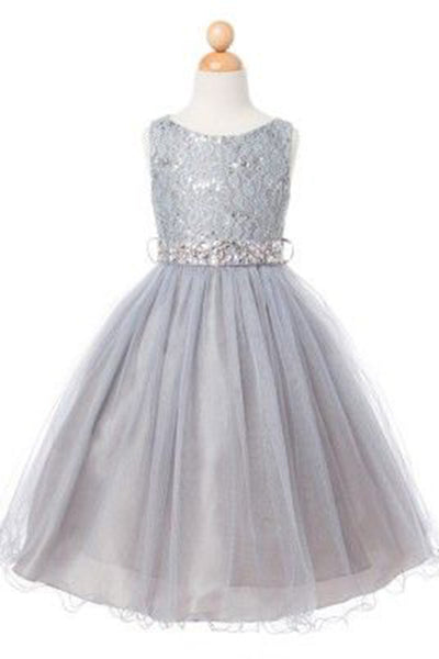 Princess gray tulle lace sequins sash A-line cute girls dress - occasion dresses by Sweetheartgirls