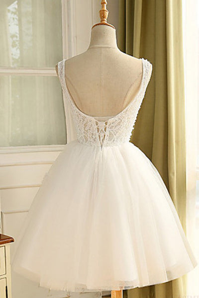 White organza sequins beading A-line short dresses ,cute dress for teens - prom dresses 2018