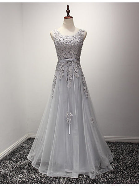 2018 evening gowns - Gray organza applique round neck lace-up A-line princess graduation dresses for teens
