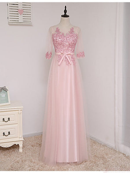 Prom 2020 | Pink tulle half sleeves see-through bowknot lace princess graduation dresses for teens