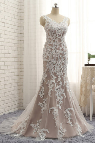 2018 New coming spring V neckline long mermaid evening dress with white lace