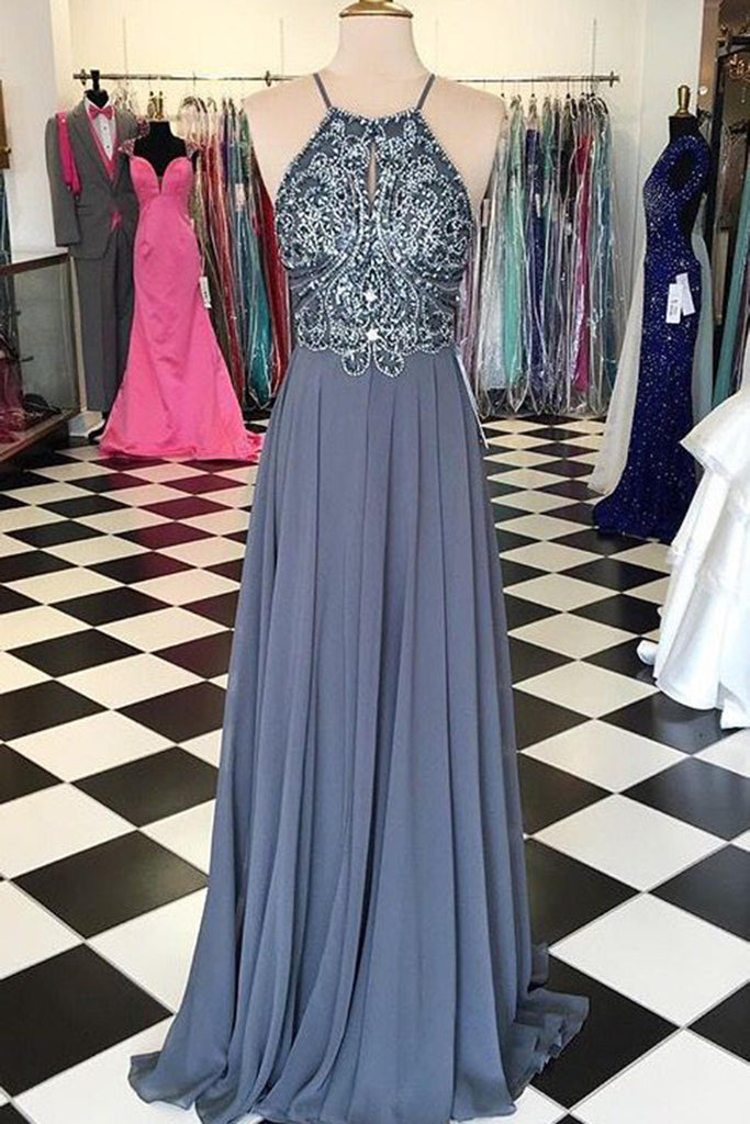 Sweet 16 Dresses | Gray chiffon sequins evening long dresses, homecoming dresses with straps