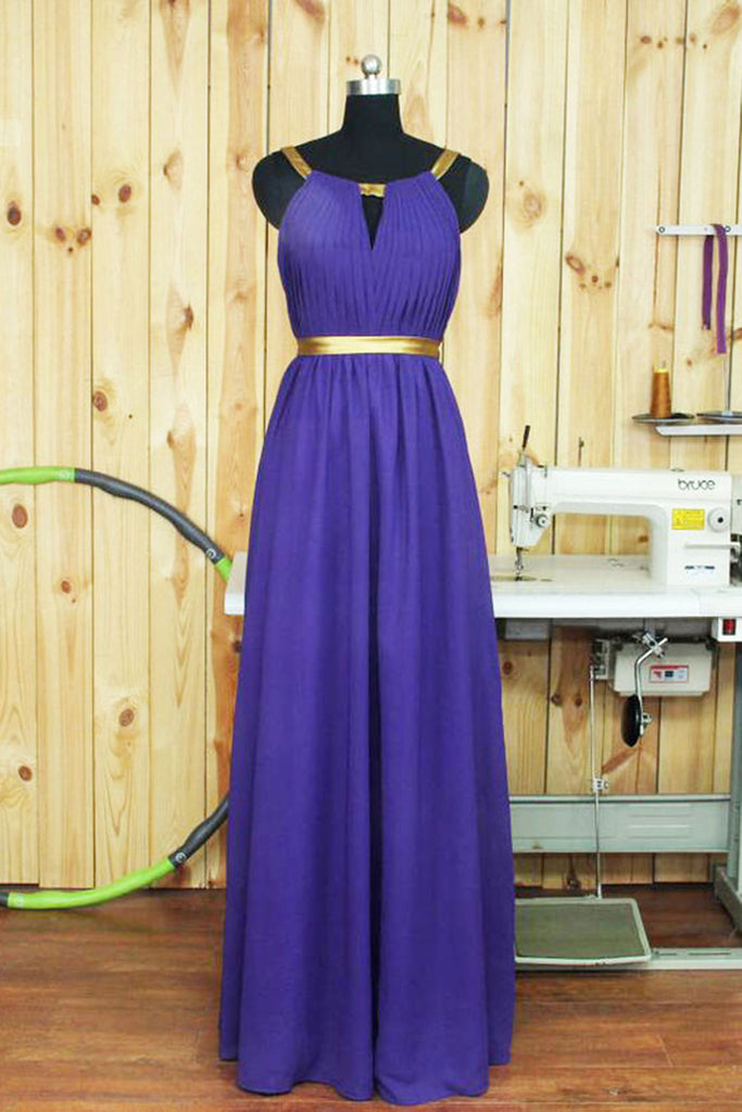 Sweet 16 Dresses | Purple chiffon simple long evening dresses,formal dress with straps
