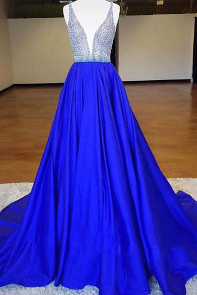 2018 evening gowns - Navy blue satins V-neck sequins beading A-line long dresses,casual dresses for teens
