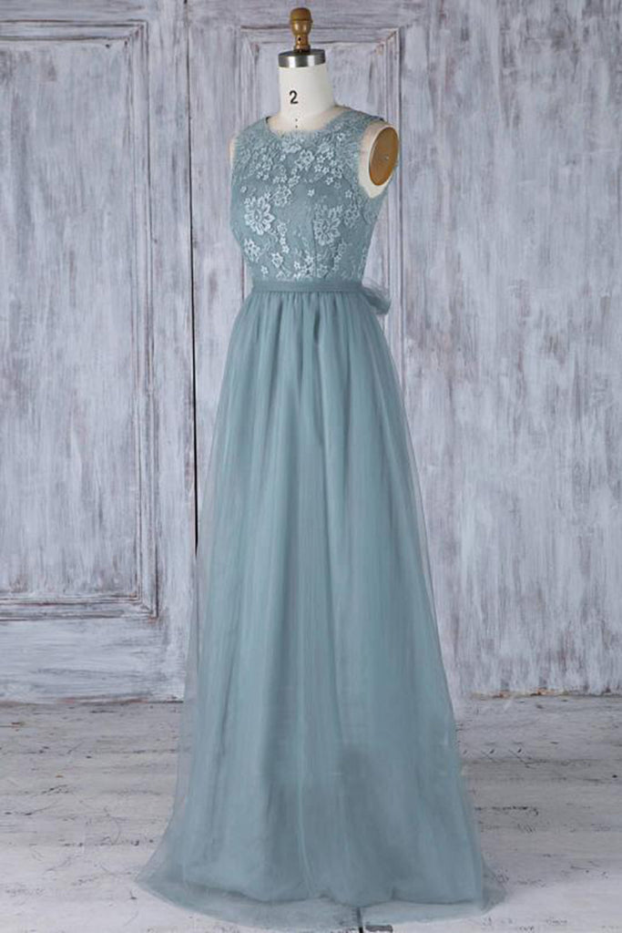 Sweet 16 Dresses | Dark green tulle long open back lace fashion prom dress with bowknot