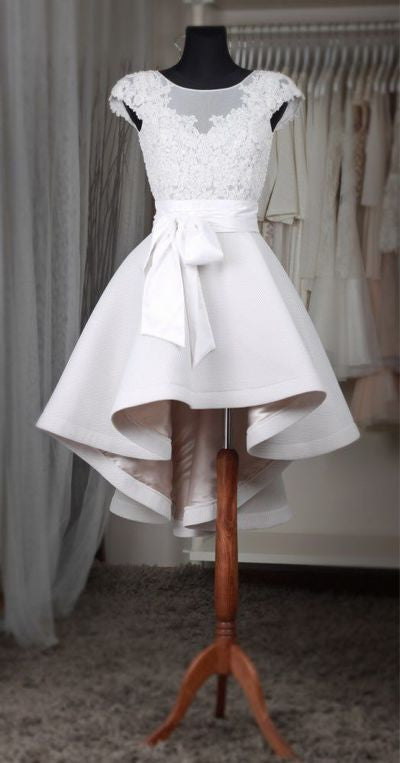 Prom 2020 | White lace cap sleeves bowknot sash round neck short prom dress high low bridesmaid dres