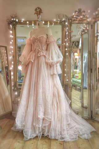 Pink Tulle Lace Sweetheart Bubble Sleeves A Line Customize Formal Dress Evening Gown Prom Dresses
