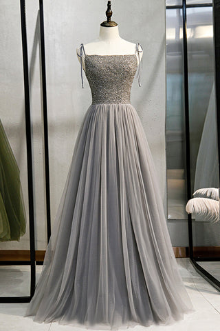 Gray Tulle Beads Long Spaghetti Straps Prom Gown Evening Dress