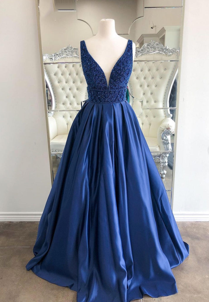 Navy Blue Satin Beaded V Neck Long A Line Prom Dress, Evening Dresses