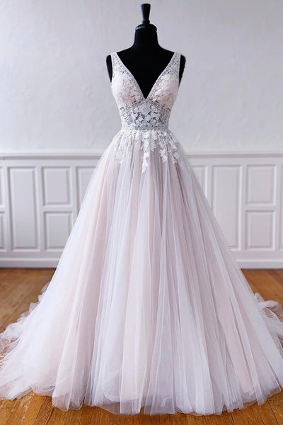 New Brand White Tulle V Neck Long A Line Lace Formal Prom Dress, Wedding Dress