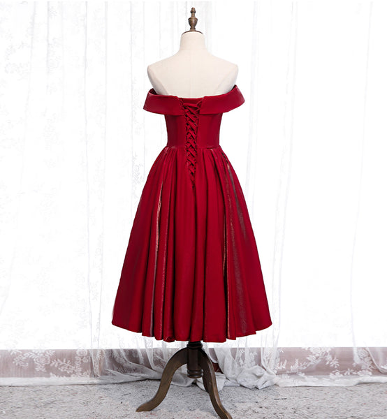 Burgundy Satin Off Shoulder V Neck Customize Short Prom Dress Party Dress Bridesmaid Dress