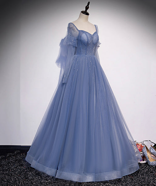Sweetheart Blue Tulle Long A Line Prom Dress Simple Evening Dress With Beading