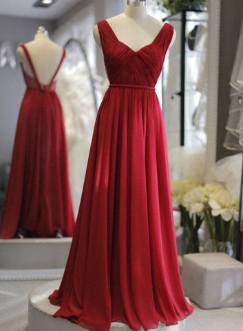 Simple Burgundy Chiffon A Line Backless Long Graduation Dress, Prom Dress, Evening Dress