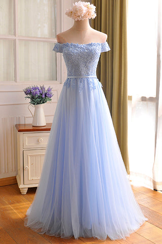 Blue Tulle Lace Long Prom Dress, Blue A Line Evening Dress