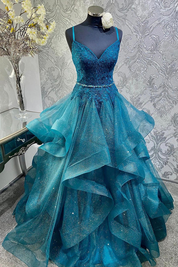 Blue Tulle Lace Beaded Spaghetti Straps Long Prom Dress, Homecoming Dresses