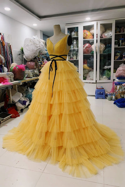Yellow Pleat Spaghetti Straps Backless Long Prom Dress, Tiered Tulle Evening Party Gowns