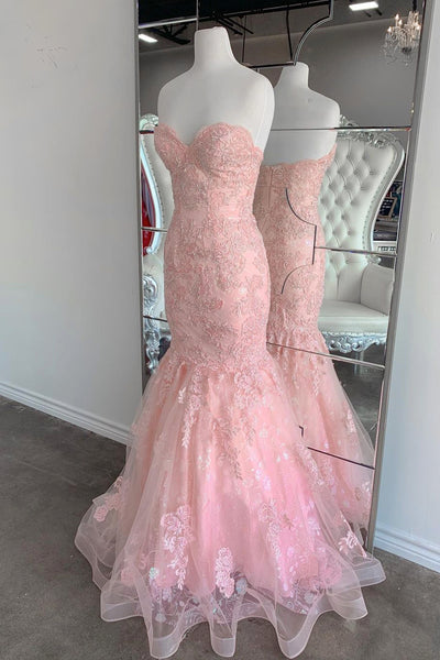 Strapless Pink Tulle Lace Long Mermaid Prom Dress Evening Dresses