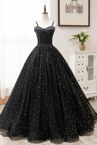 Princess Sweetheart Black Floral Tulle Long Sweet 16 Prom Dress, Graduation Dresses
