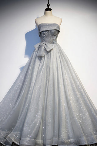 Gray Tulle Sequins Long Sweet 16 Prom Dress, A Line Prom Gown