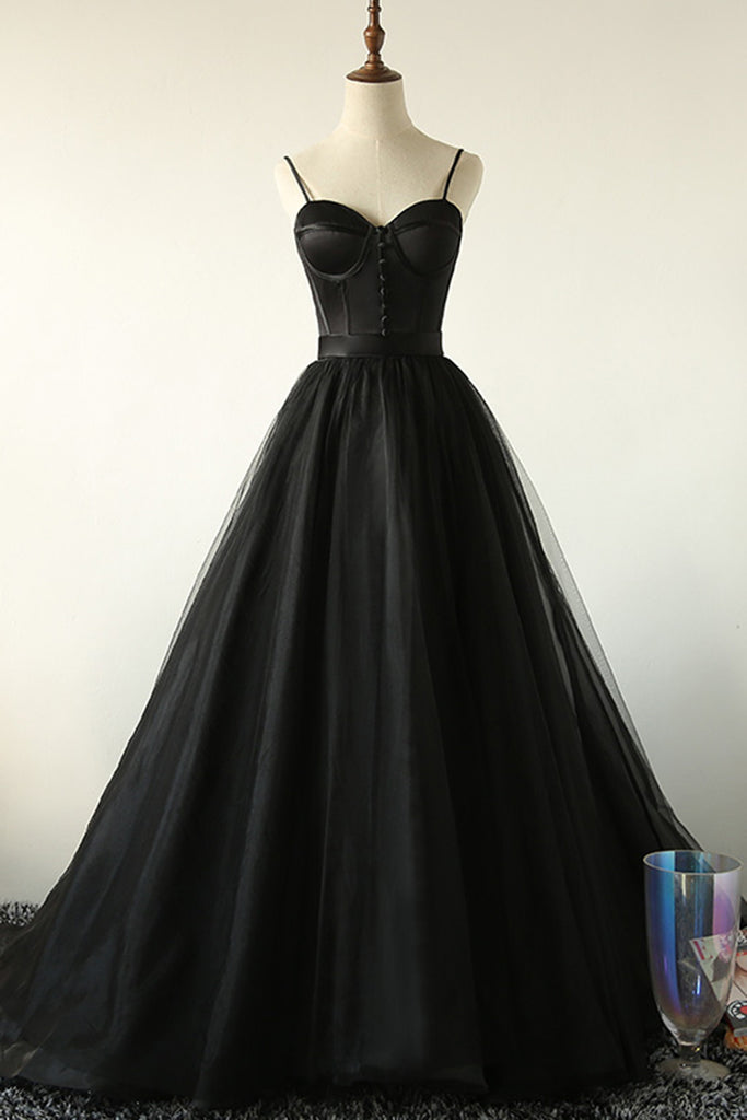 Black Tulle Long Prom Dress, Black Tulle A Line Evening Dress