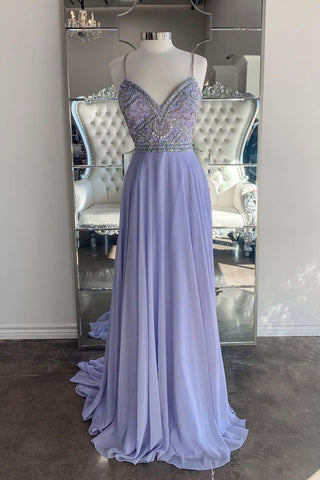 Lavender Tulle Lace Sweetheart A Line Customize Beaded Prom Dress Evening Dresses