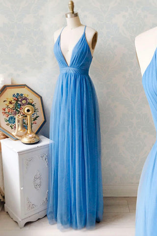Blue Tulle V Neck Long Prom Dress Simple Evening Dress