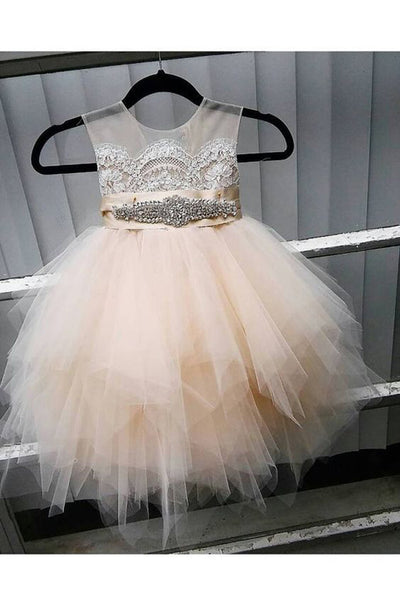 Cute ivory organza A-line sequins short girls dress  with straps - occasion dresses by Sweetheartgirls