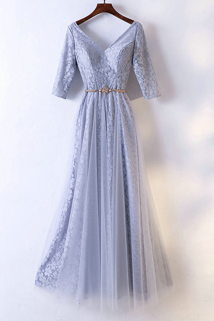 Sweet 16 Dresses | Blue gray lace V neck winter formal prom dress with mid sleeves, long lace evening dress