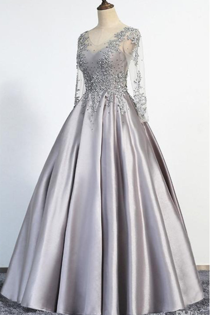 Sweet 16 Dresses | Gray satin v neck long senior prom dress with sleeves, long beaded evening dress