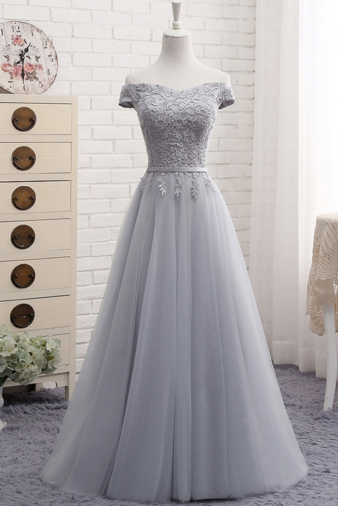 Sweet 16 Dresses | Gray tulle off shoulder long A-line senior prom dress, simple bridesmaid dress