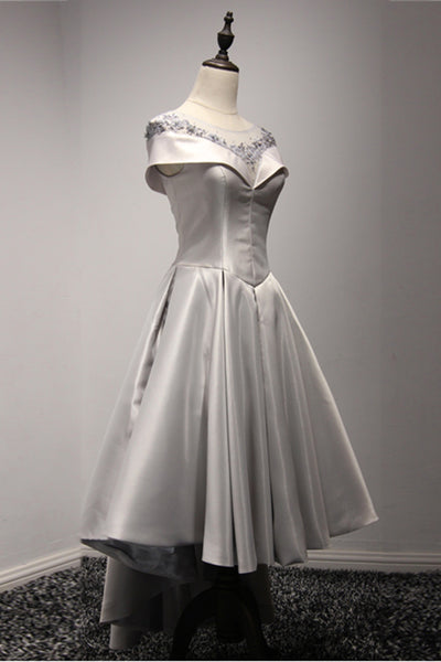 Sweet 16 Dresses | Gray satin high-low homecoming dress, short high waist party dress