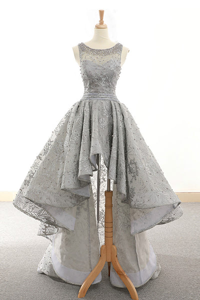 Sweet 16 Dresses | Gray lace scoop neck high low scoop neck homecoming dress, gray beaded party dress