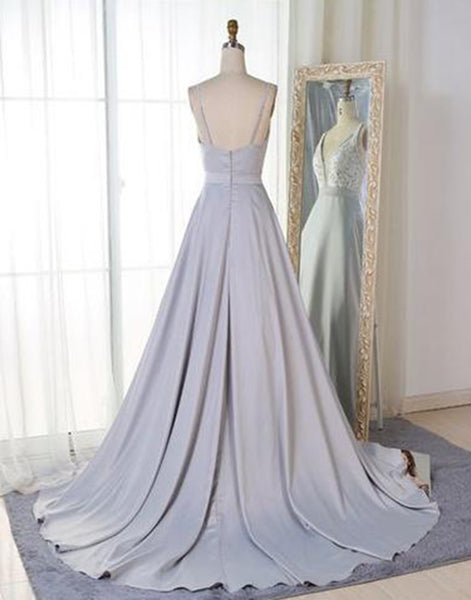 Sweet 16 Dresses | Gray satin V neck long A-line sweet 16 prom dress, long halter graduation dress with lace