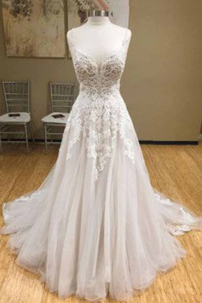 Sweet 16 Dresses | Gray tulle V neck long formal prom dress, gray prom dress with lace applique