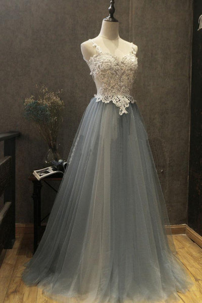 Sweet 16 Dresses | Gray tulle sweetheart neck long white lace prom dress, evening dress