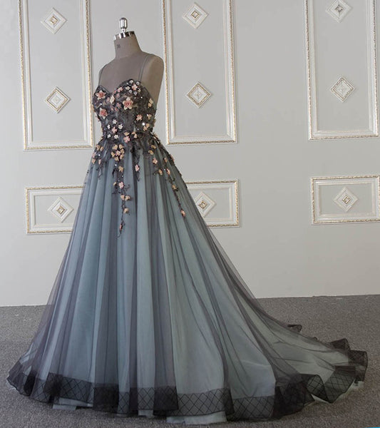 Sweet 16 Dresses | 2019 Spring sweetheart neck A-line customize long tulle flower appliqué senior prom dress