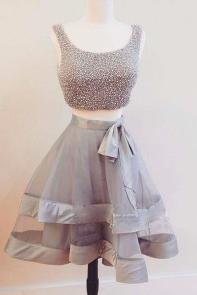 Sweet 16 Dresses | Gray tulle two piece short beading homecoming dress, party dress