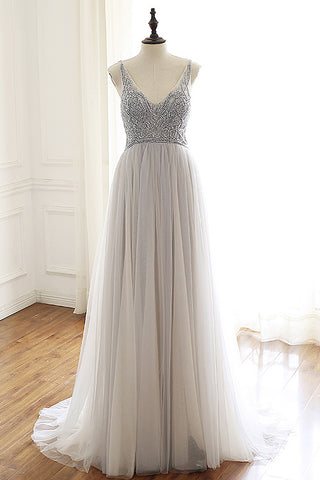 Gray tulle beaded open back long evening dress, gray tulle prom dress