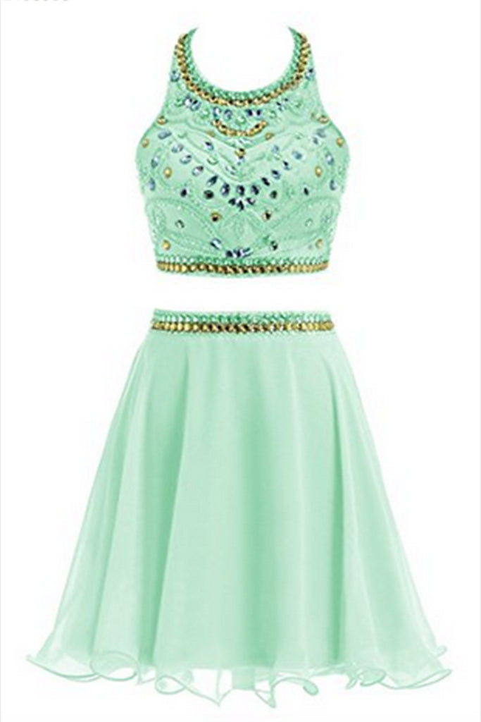 2018 evening gowns - Light green chiffon sexy two pieces sequins beaded A-line halter short dresses for teens